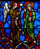 The Annunciation Stained Glass in Cathedral of Tours, France Stock Photos
