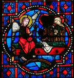 Annunciation - Stained Glass in Tours Cathedral Royalty Free Stock Image