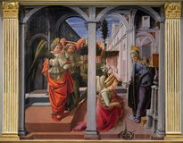 Annunciation to the Virgin Mary, Basilica di San Lorenzo in Florence stock photo