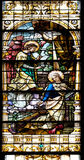 Annunciation of the Virgin Mary. Stained glass window in the Basilica of the Sacred Heart of Jesus in Zagreb, Croatia Stock Photography