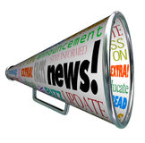 Annuncio attento importante del megafono di altoparlante di notizie Fotografia Stock