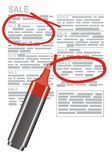 Annuncio colorato di giornale e dell'indicatore Fotografia Stock