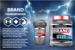 Annuncio dei contenitori di prodotto di nutrizione di sport Vincitori del peso messi Bottiglie del proteina del siero imballaggio royalty illustrazione gratis