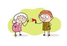 Annuncio del nonno del fumetto ed illustrazione d'ascolto di vettore della nonna illustrazione di stock