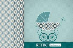 Annuncio della doccia di bambino, invito, retro carta di compleanno con carrozzina Fotografia Stock