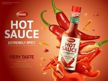 Annuncio della salsa di peperoncino rosso illustrazione vettoriale