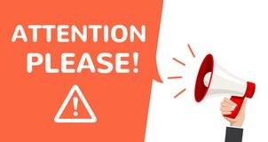 Annuncio di informazioni di vettore del megafono di attenzione Manifesto attento importante di attenzione prego royalty illustrazione gratis