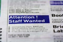 Annuncio di job - personale carente Immagine Stock Libera da Diritti