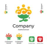 Annuncio pubblicitario sveglio di Logo Modern Identity Beautiful Brand del fiore e modello stabilito di concetto di simbolo dell' Fotografia Stock