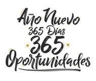 Ano努埃沃365狄亚士,365 Oportunidades,新年365天,365个机会西班牙文本 向量例证