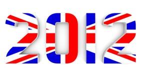 Ano 2012 na bandeira britânica para Jogos Olímpicos Fotografia de Stock