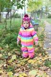 1 ano bonitos da menina que anda no outono fora Fotografia de Stock Royalty Free