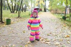 1 ano bonitos do bebê que anda no outono fora, listrado para fora Imagem de Stock Royalty Free