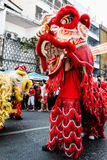 Ano chinês feliz da mostra do leão Imagens de Stock Royalty Free