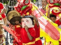 Ano chinês feliz da mostra do leão Fotografia de Stock Royalty Free