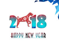 Ano chinês feliz do cartão do ano novo 2018 de cão foto de stock