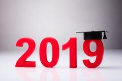 Ano 2019 com chapéu da graduação imagens de stock