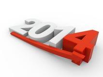 Ano 2014 - crescimento vermelho da seta ilustração royalty free