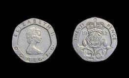 Ano 1982 das moedas de um centavo da moeda vinte de Inglaterra fotos de stock