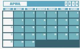 Ano 2019 de abril do calendário, e planejador para tarefas e o thi planejando ilustração do vetor