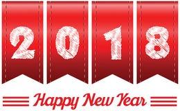 ano de 2018 anuários Ano novo feliz 2018 anos na fita vermelha Fotos de Stock Royalty Free