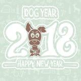 Ano de 2018 cães no fundo azul Fotografia de Stock Royalty Free