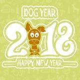 Ano de 2018 cães no fundo verde Foto de Stock