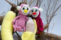 Ano de macaco, brinquedo feito malha, símbolo, feito a mão Imagens de Stock