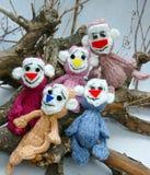 Ano de macaco, brinquedo feito malha, símbolo, feito a mão Fotografia de Stock