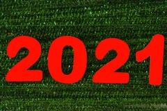 Ano 2021 de números vermelhos fotografia de stock royalty free