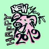 Ano do sinal do zodíaco de 2019 chineses de cópia funky do porco ilustração royalty free