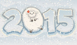 Ano do vetor bonito chinês do zodíaco dos carneiros 2015 Fotos de Stock Royalty Free