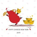 Ano dourado do porco, da bandeira 2019 chinesa feliz ou do fundo do ano novo ilustração stock