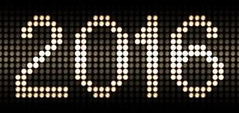 Ano 2016 em lâmpadas conduzidas foto de stock royalty free