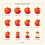 Ano engraçado da maçã Maçãs como meses dos ícones Meses do logotipo ilustração royalty free