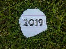 Ano 2019 escrito em um pedaço de papel na grama fotografia de stock