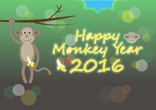 Ano feliz 2016 do macaco Foto de Stock