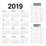 Ano 2019 2020 molde do projeto do vetor de 2021 calendários ilustração stock