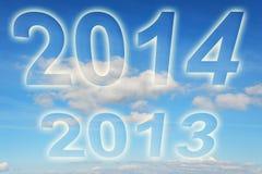 Ano 2013 2014 mudanças nas nuvens ilustração royalty free