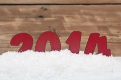 Ano 2014 na neve fresca Imagem de Stock Royalty Free