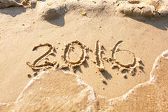 Ano 2016 na praia para o fundo Imagens de Stock Royalty Free