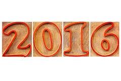 Ano 2016 no tipo de madeira Fotografia de Stock