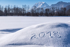 Ano 2018 nos cumes Fotografia de Stock Royalty Free