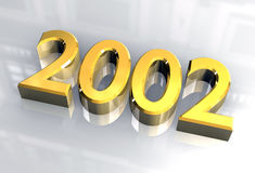 Ano novo 2002 no ouro (3D) Foto de Stock Royalty Free