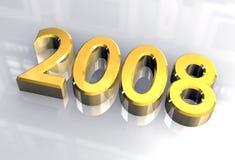 Ano novo 2008 no ouro (3D) Imagens de Stock Royalty Free
