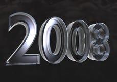 Ano novo 2008 no vidro (3D) Imagens de Stock