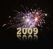Ano novo 2009 dos fogos-de-artifício Fotografia de Stock