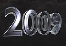 Ano novo 2009 no vidro (3D) Imagens de Stock Royalty Free