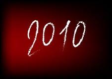 Ano novo 2010 no fundo vermelho Fotografia de Stock Royalty Free