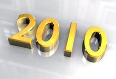 Ano novo 2010 no ouro (3D) Fotografia de Stock Royalty Free